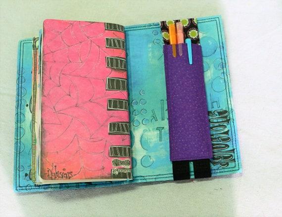 Green Flowers, Purple Pocket Travelers Journal Multiple Pen Holder, Planner , Journal Pen Holder,  Travel Journal Pen Holder Inside Outside