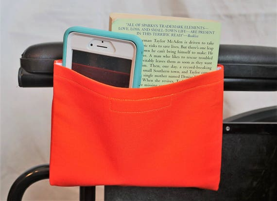 Orange Solid Color Single Pocket Armrest Bag for Wheelchairs