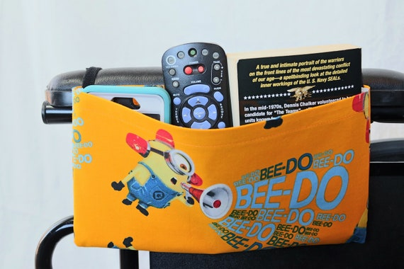 Minion Single Pocket Armrest Bag for Wheelchair, Walker or other Mobility Aides, Optional Closure Styles Available