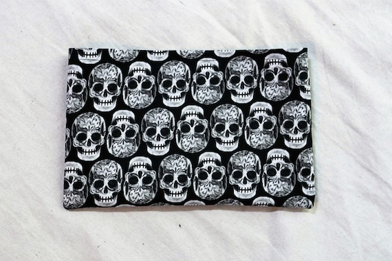 Black and White Sugar Skulls Single Pocket Armrest Bag for Wheelchair - Hook and Loop or Snap Closure Available
