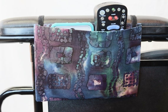 Unique Squares Single Pocket Armrest Bag for Wheelchair, Walker or other Mobility Aides, Optional Closure Styles Available