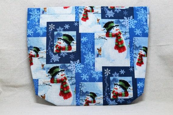 Snowman Winter Scene Single Pocket Armrest Bag for Wheelchair - Snap closure, hook and loop closure