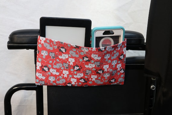 Cats and Yarn Single Pocket Armrest Bag for Wheelchair - Optional Closure Styles Available