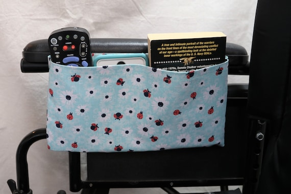 Daisy and Lady Bugs Wheelchair Accessory Single Pocket Pouch - Optional Closures are Available