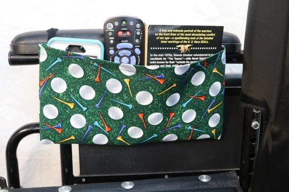 Golfing Single Pocket Armrest Bag for Wheelchair - Optional Closure Styles Available