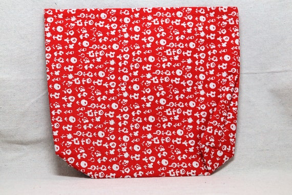 Red with White Flowers Single Pocket Armrest Bag for Wheelchair, Walker or other Mobility Aides, Optional Closure Styles Available
