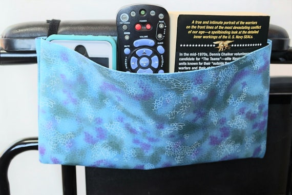 Blue, Green and Purple Single Pocket Armrest Bag for Wheelchair, Walker or other Mobility Aides, Optional Closure Styles Available