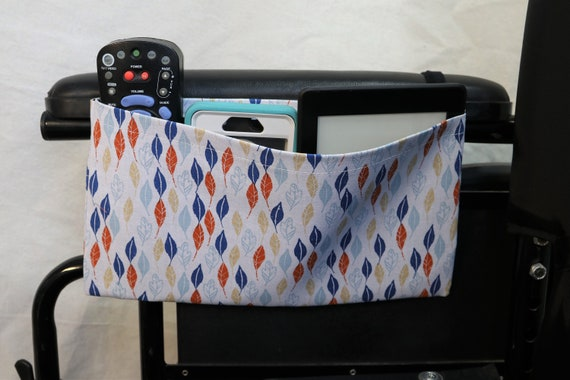 Blue, Teal, and Orange Leafs Single Pocket Armrest Bag for Wheelchair - Optional Closure Styles Available
