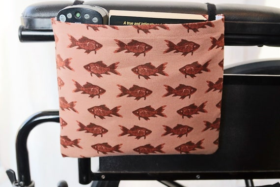 Fish Single Pocket Armrest Bag for Wheelchair, Walker or other Mobility Aides, Optional Closure Styles Available