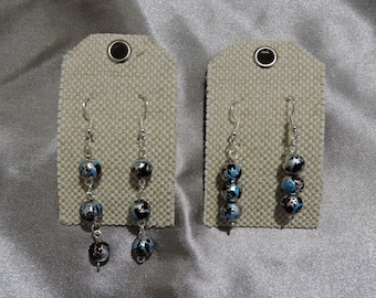 Blue, Brown, and Silver Dangle Ball Earrings