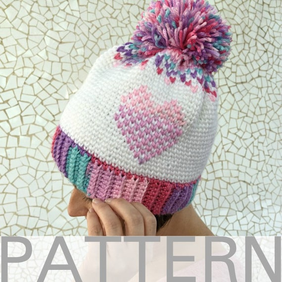 78454040a63 Heart Showers Beanie Crochet Hat Pattern Crochet Heart Hat