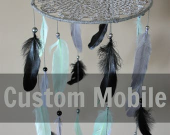 Custom Feather Mobile-Baby Boy Nursery Decor-Baby Girl Nursery Decor-Custom Mobile-Nursery Decor-Baby Mobile-Baby Shower Gift-Feather Mobile