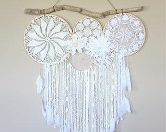 Large Dream Catcher Wall Hanging-Dreamcatcher Wall Hanging-Driftwood Doily Dreamcatcher-Bedroom Decor-Wedding Decor-Photography Backdrop