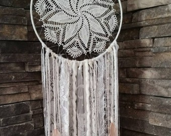 Cream Large Dream catcher Wall Hanging-Dreamcatcher-Boho Chic Decor-Lace Dream Catcher-Boho Gift for her-Shabby Chic- Bedroom-Nursery