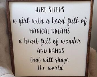 Here sleeps a girl | nursery sign | Baby Room Decor | Baby Room Wall hanging | Nursery Art | Nursery Wall Decor | Girl Nursery | Neutral