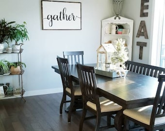 Gather Sign | Home Sign | Kitchen Sign | Wood Framed Sign | Farmhouse Style  | Rustic Decor | Wood Sign | Dining Room Sign | Sign