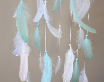 Feather Mobile-Mint Pink White Mobile-Baby Crib Mobile-Boho Chic Nursery-Baby Girl Mobile-Crib Mobile-Dreamcatcher Mobile-Hanging Mobile