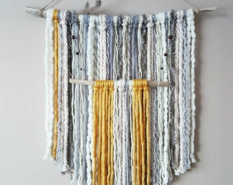 Yarn Wall Hanging-Cream Yellow Yarn Hanging-Driftwood Yarn Hanging-Boho Nursery-Tapestry-Fringe Wall Hanging-Neutral Nursery