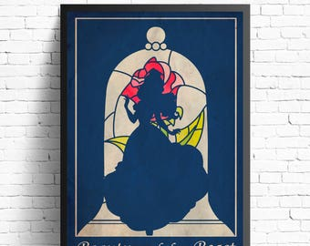 Beauty and the beast poster, beauty and the beast art, Disney movie poster , Belle princess poster, Disney princess poster, Beats print