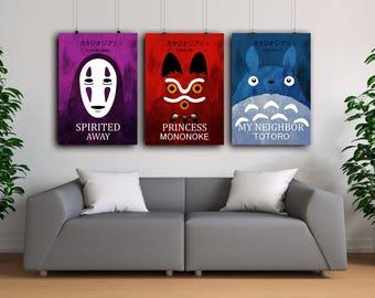 Studio Ghibli  colorful poster set, My Neighbor Totoro poster , Spirited Away poster, Princess Mononoke poster, Hayao Miyazaki art