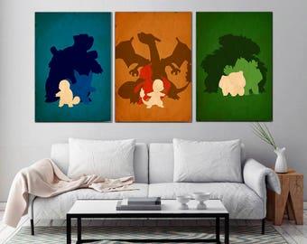 Pokemon poster,Pokemons,Bulbasaur , Charmander, Squirtle  Poster Set, Wall art, Gamer gift, Pokemon poster SET, Pokemon art, Pokemon print