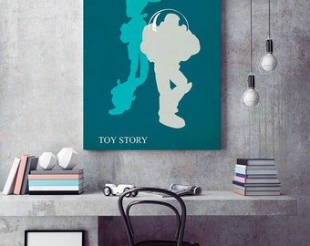 Toy Story Poster, Toy Story Minimalist Poster, Pixar Minimalist  Poster, Buzz Lightyear print, vintage movie poster, toy story woody