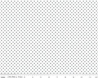 Riley Blake Fabric -Swiss Dot On White Navy C660-21 NAVY