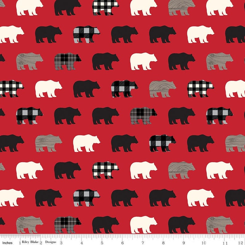 Wild at Heart Bears Red by Lori Whitlock for Riley Blake Fabrics C9821-RED
