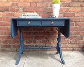 Regency Style Shabby Chic Vintage Sofa Table Drop Leaf Strongbow Chalk Paint Blue
