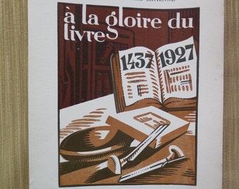 """FREE SHIPPING Antique French Litograph, """"à la Gloire du Livre 1437 1927"""", Art Deco graphic, black and orange"""