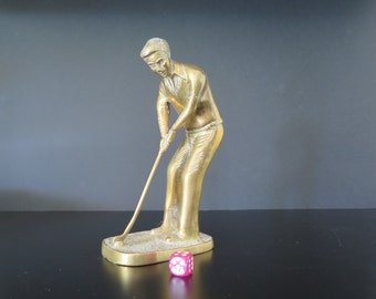 Vintage Brass Statuette of a Golf Player, Decorative Object, Paperweight, Trophy, Mid Century Decor
