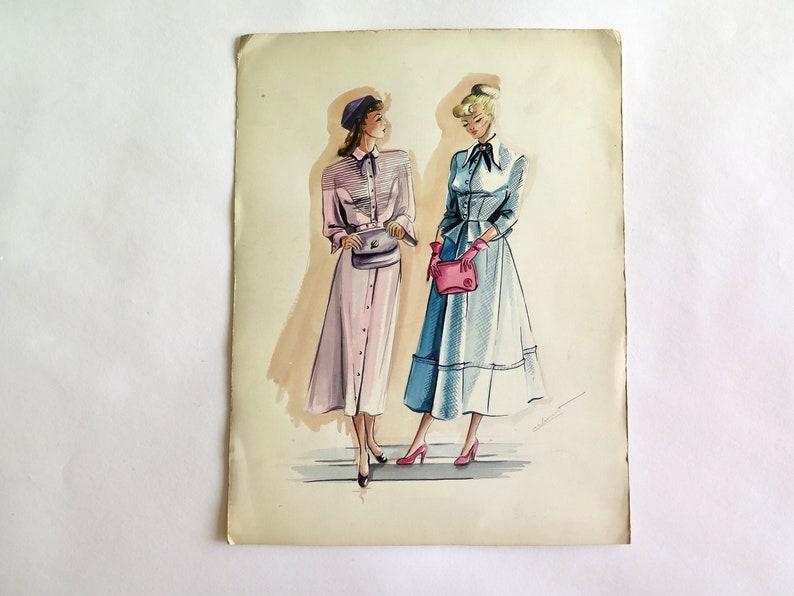 Art Drawings Original Vintage Watercolor Drawing ...