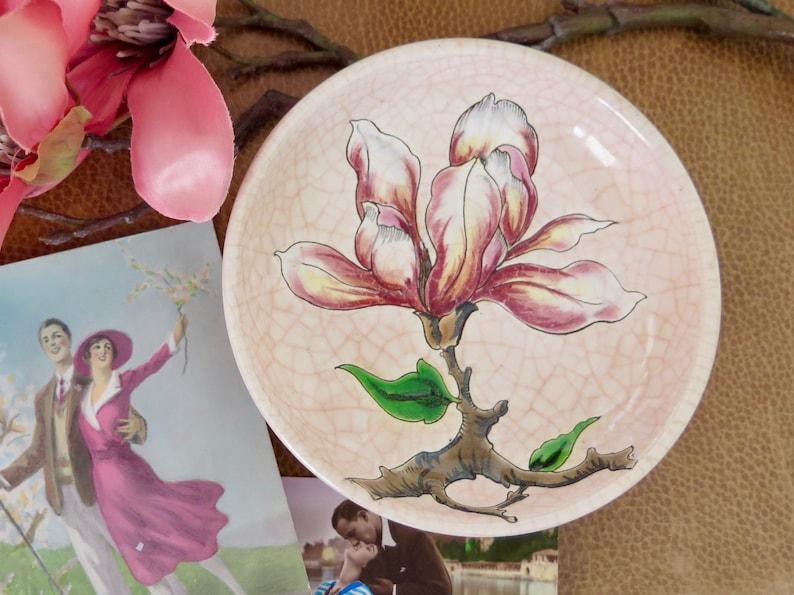 Rare Longwy Magnolia Dish Faience Vide Poche Dish Longwy Pin Tray with Pink Magnolia