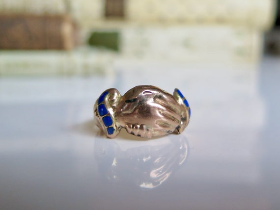 Antique Enameled Gold Fede Ring, Blue Enamel Gold