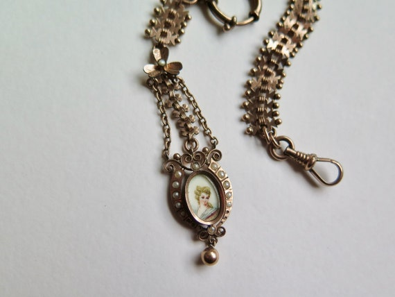 Antique French Chatelaine With Miniature Painting