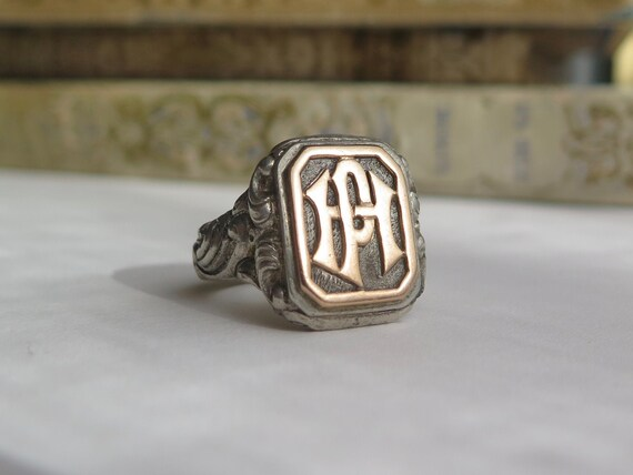 Antique Silver Signet Ring Initials HP or PH, Man