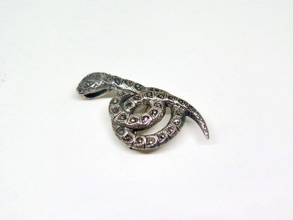 Art Deco Silver and Marcasite Snake Brooch, Vintag