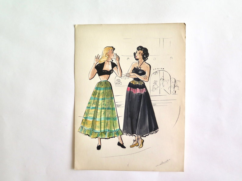 Art Original Vintage Watercolor Drawing ...