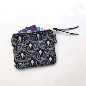 Gold Key Pouch Tiny Coin Purse Beige Calf Hair Zip Pouch Credit Card Wallet Dalmatian Coin Purse Copper Coin Pouch Small Keyring Pouch