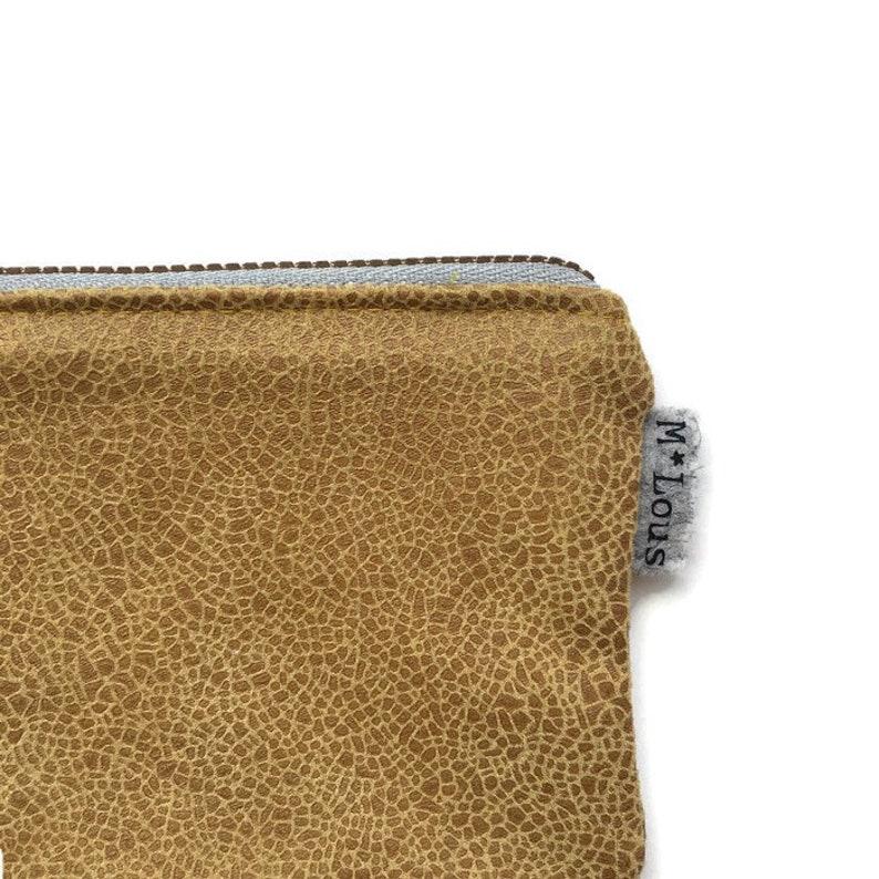 Tiny zipper pouch mustard wallet ochre coin pouch vegan pouch mini faux leather purse small pouch zipper purse minimalist retro bymlous