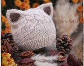 KNITTING PATTERN - Simple Kitten or Fox Ears Beanie (Nb, Baby, Toddler, Child, Adult) - Flat and Round Instruction, Pdf in ENGLISH Language.