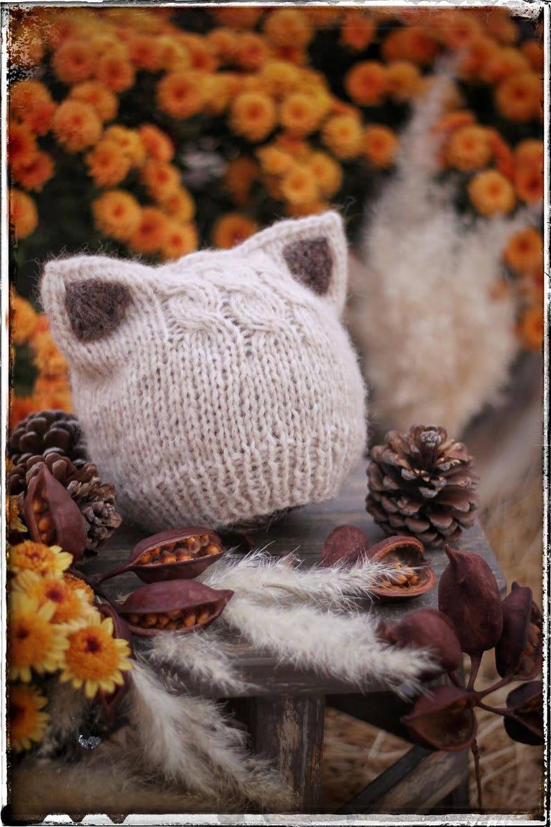 KNITTING PATTERN Simple Kitten or Fox Ears Beanie Pdf. Nb  f7e639dad3d