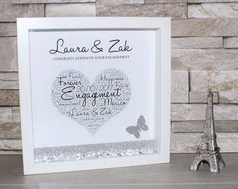 Personalised Engagement Frame,Shadow Box Frame, Engagement Gift, Engagement Keepsake, Mr & Mrs, Personalised Frame, Word Art, Box Frame Gift