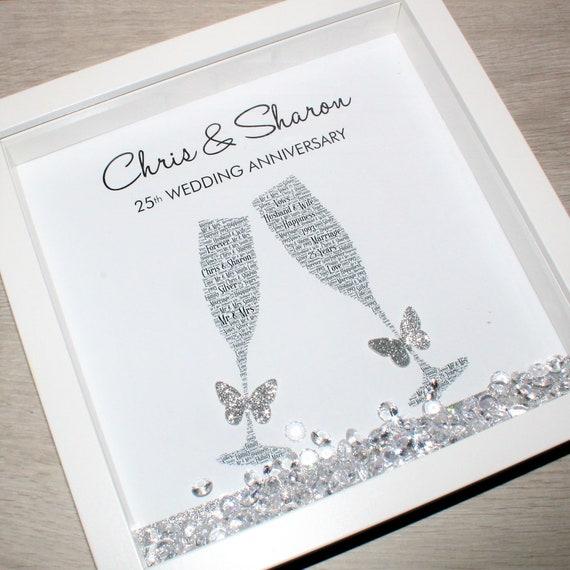 25th Wedding Anniversary Gifts.Silver Wedding Anniversary Frame Silver Anniversary Gift Personalised Anniversary Frame Word Art Frame 25th Wedding Anniversary Gift