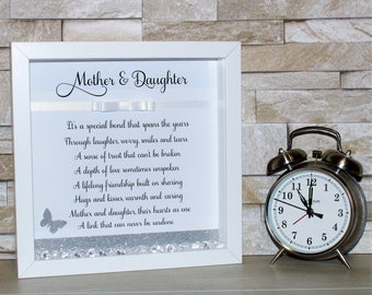 Personalised Box Frame, Shadow Box Frame, Mum Gift, Gifts For Mum, Mothers Day Gift, Mother & Daughter Poem, Mothers Day Frame, Gift For Her