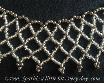 Beading tutorial pattern. Seed bead netted necklace pattern 1. Netting. Beadweaving. Jewellery instructions. Collar. Digital download.