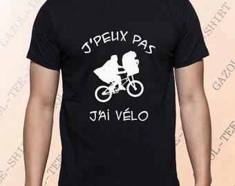 """T-shirt """"J' peux pas, j'ai vélo.""""  Tee-shirt idée cadeau cycliste humour clin d' œil ET Spielberg."""