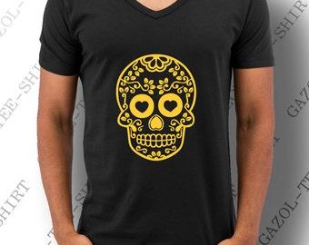 """T-shirt """" Mexican Skull """". Graphique tête de mort fashion jaune-orangé."""