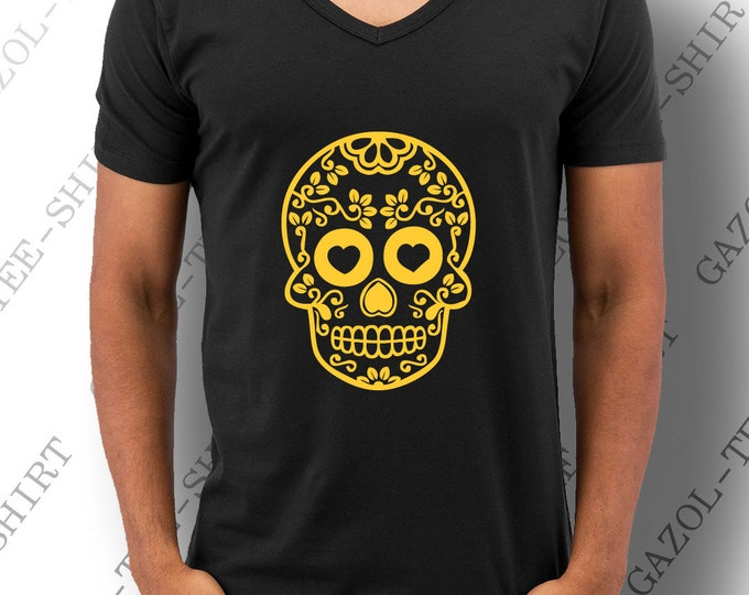 "T-shirt "" Mexican Skull "". Graphique tête de mort fashion jaune-orangé."