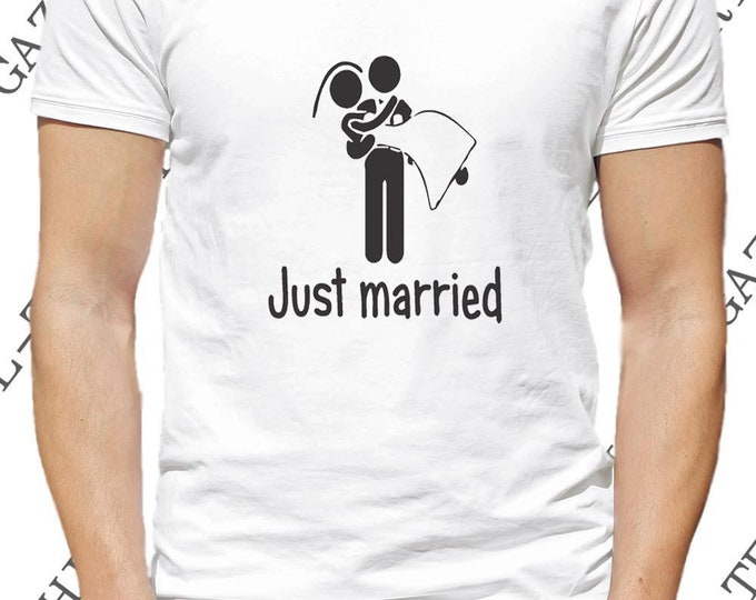 """T-shirt """"just married.""""  Tee-shirt idée cadeau humoristique pour jeunes mariés enterrement de vie de garçon."""